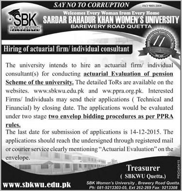 Actuarial Firm, Individual Consultant job in SBKWU 22 Nov 2015