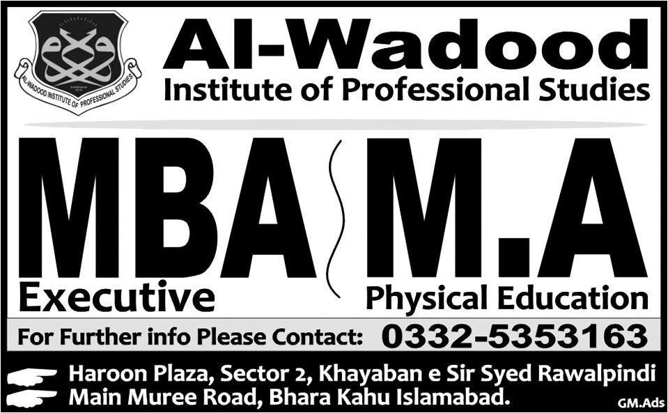 Admissions In Al-Wadood Institute Of Professional Studies