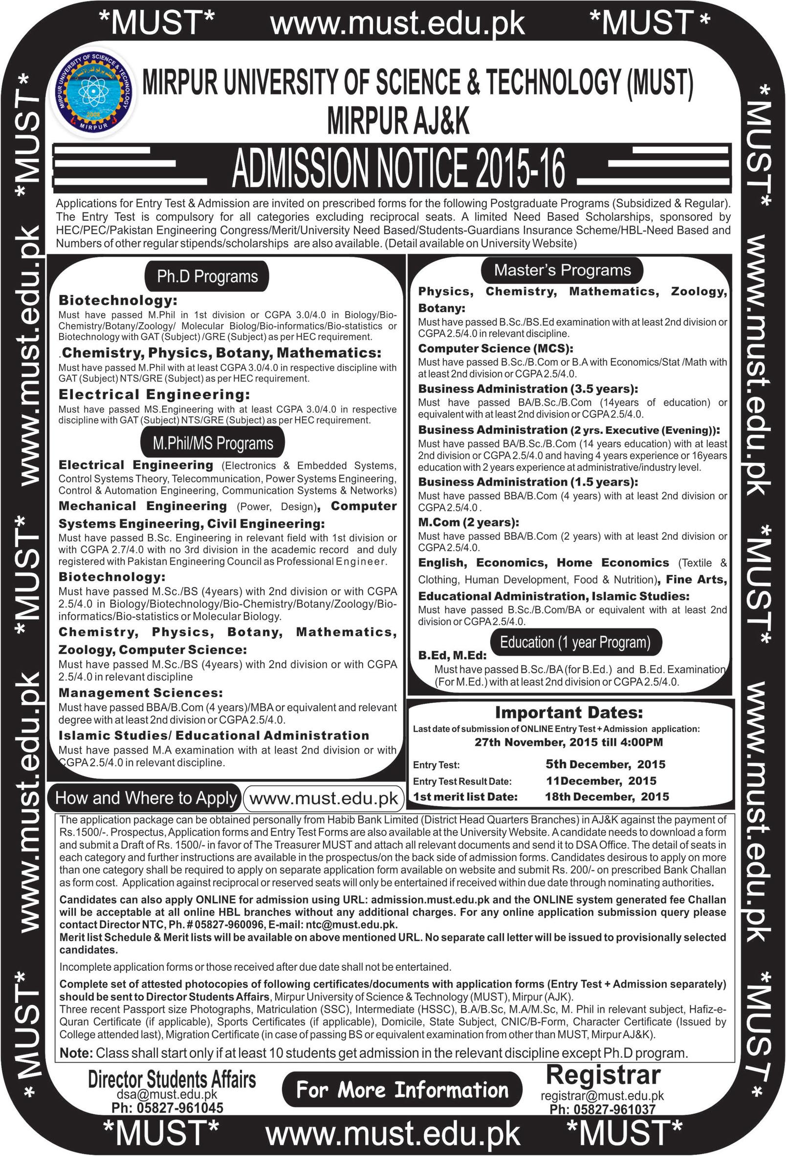 Admissions In University Of Science & Technology Mirpur Aj&k 18 - Nov - 2015