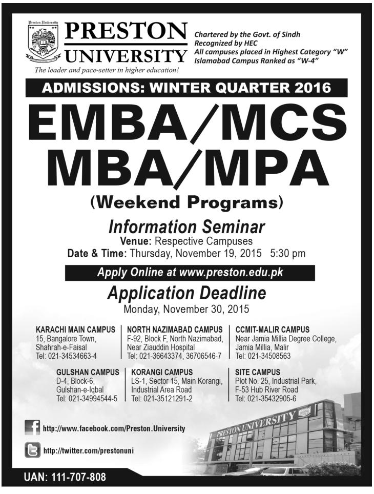 Admissions In Preston University Karachi 18 - Nov - 2015