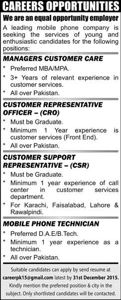 CRO, CSR, Manager and Mobile Technician Jobs 22 Nov 2015