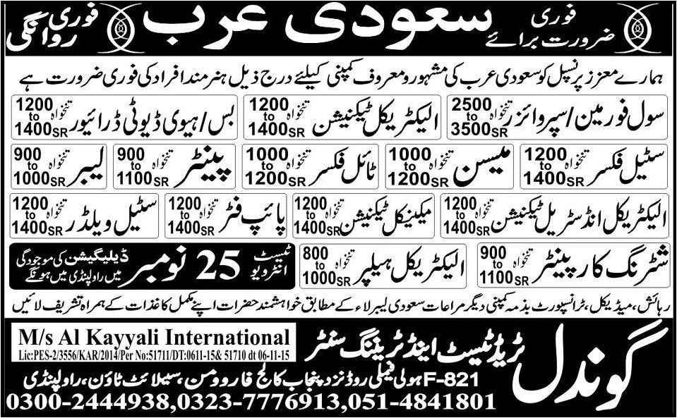 Different Jobs In Saudi Arab