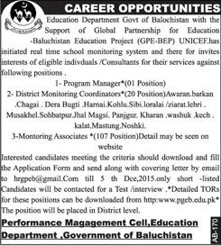 Jobs in Education Department of Govt of Baluchistan 22 Nov 2015