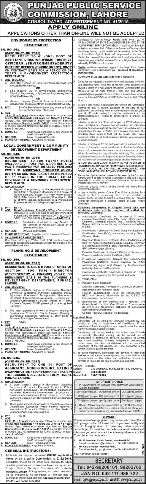 Jobs in Punjab Public Service Commission Lahore