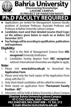 Ph. D Faculty Job in Bahria University Lahore 22 Nov 2015
