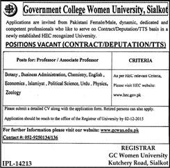 Professor Jobs in Govt COllege Women University, Sialkot