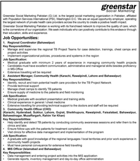 Vacancies Availabe in Greenstar Social Marketin Pakistan1