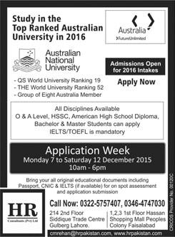 Admissions in Australian National University Australia 11 Dec 2015