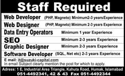 Jobs in IT, Web Designer Developer, DEO SEO Graphics Designer and Software 11 Dec 2015