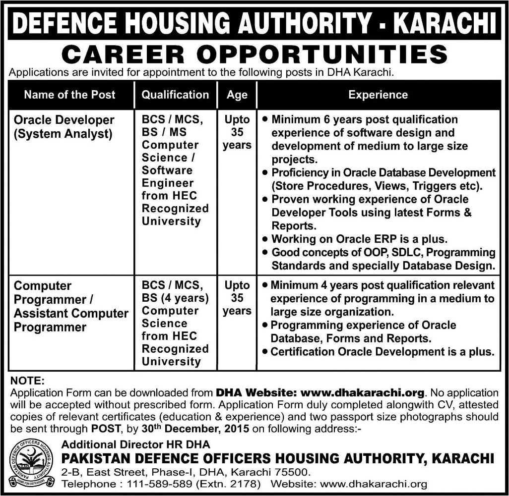 oracle developer computer programmer jobs in defence housing authority database programmer jobs