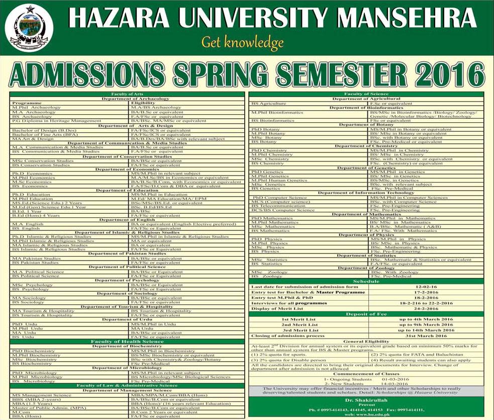 admissions in hazara mansehra