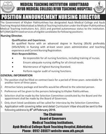 Nursing Director Jobs in Medical Teaching Institution Abbotabad