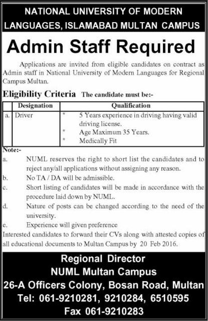 Admin Staff Jobs in National University of Modern Language