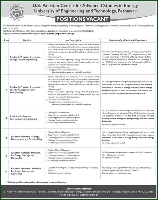Academic Program Developer Energy System Engineering, Energy Management Sustainability, Assistant Professor Energy System Engineering, and Conversion Jobs in University of Engineering and Technology Peshawar