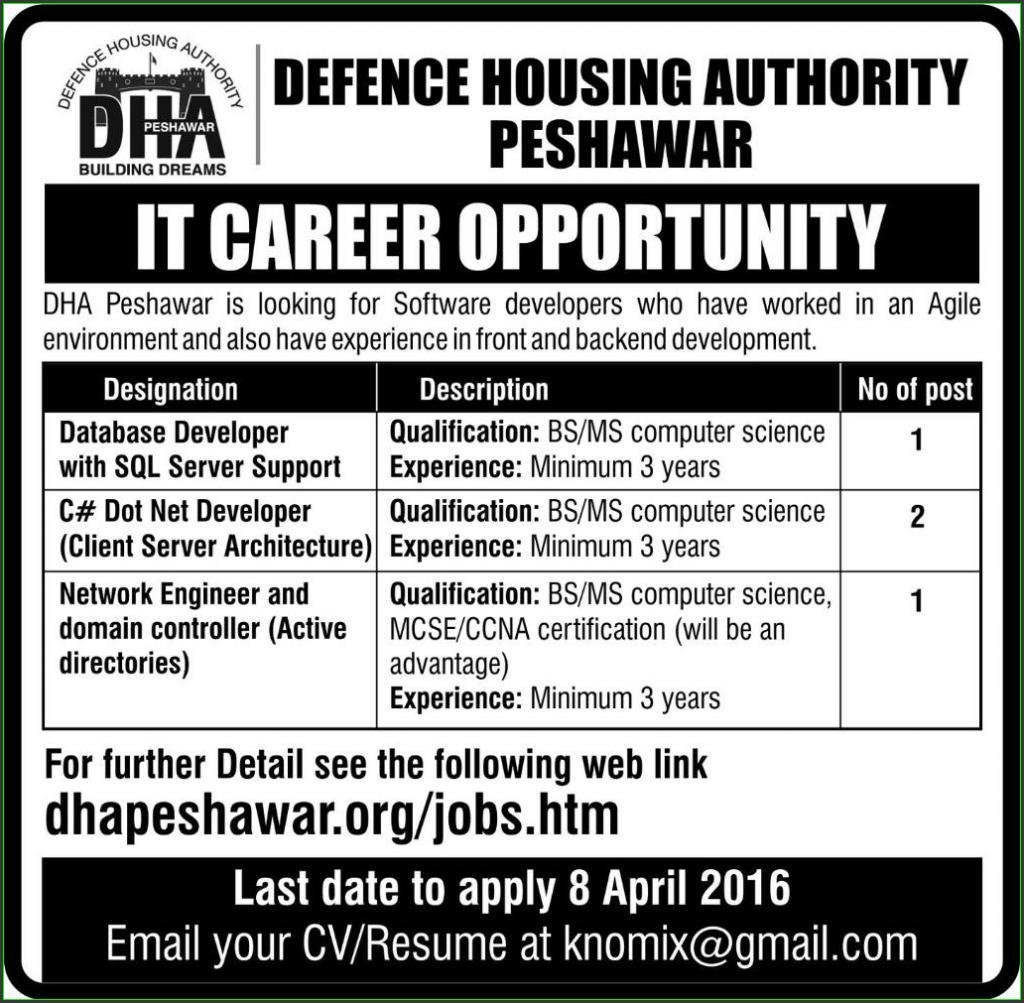 Database Developer, C# Dot Net Developer, and Network Engineer Jobs in DHA Decefence Housing Authority Peshawar