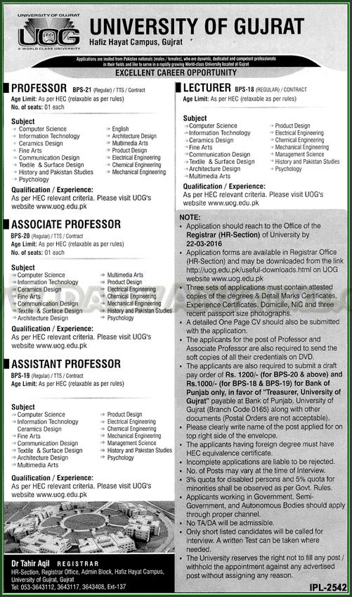 Professor, Associate Professo, Assistant Professor and Lecturer Jobs in (UOG) University of Gujrat