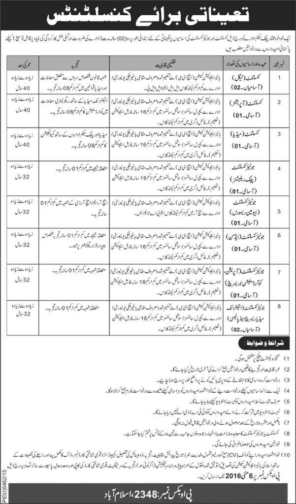 Consultant and Junior Consultant Jobs in Public Sector Islamabad