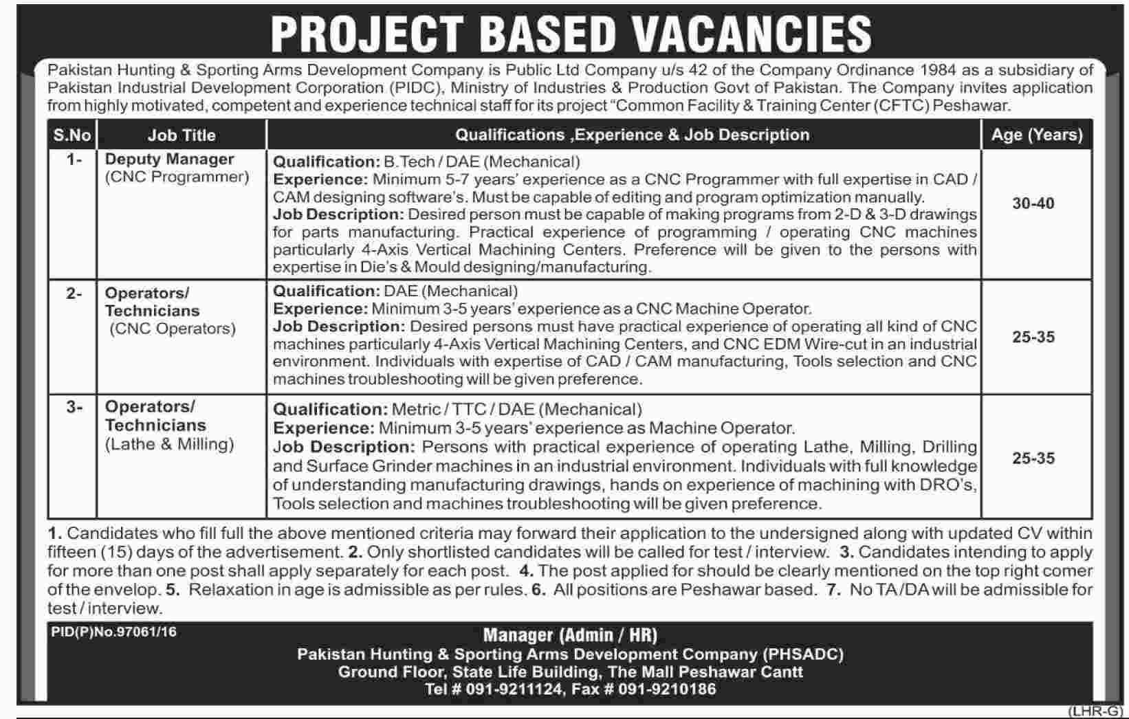 pakistan hunting sporting arms development company phsadc jobs deputy manager operators technicians